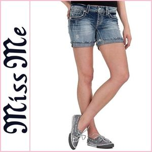 Miss Me Floral Wing Denim Jean Shorts